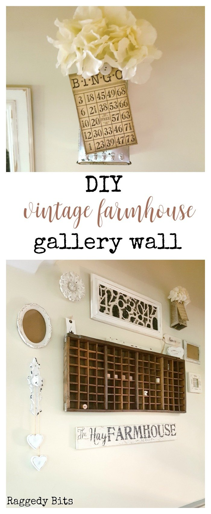 After wanting to make a gallery wall on our stair case wall and not having a clue where to start. I'm sharing some things that I learnt along the way with making a DIY Vintage Farmhouse Gallery Wall | www.raggedy-bits.com