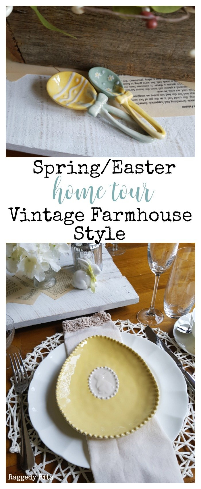 A fun and cherry Spring-Easter Home Tour Vintage Farmhouse Style! With lots of bunnies to put a bit of hop into your step | www.raggedy-bits.com