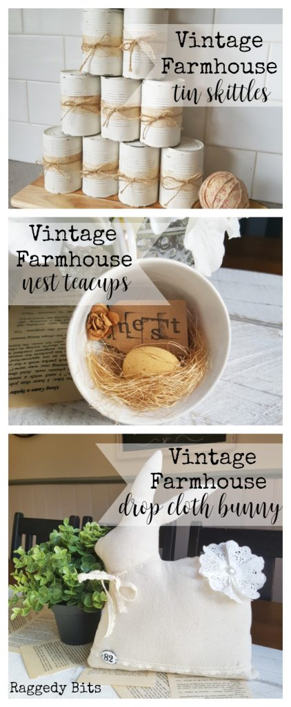 Waste Not Wednesday-40 Raggedy Bits Projects for the week | Vintage Farmhouse Tin Skittles | Vintage Farmhouse Nest Teacups | Vintage Farnhouse Drop Cloth Bunny | www.raggedy-bits.com