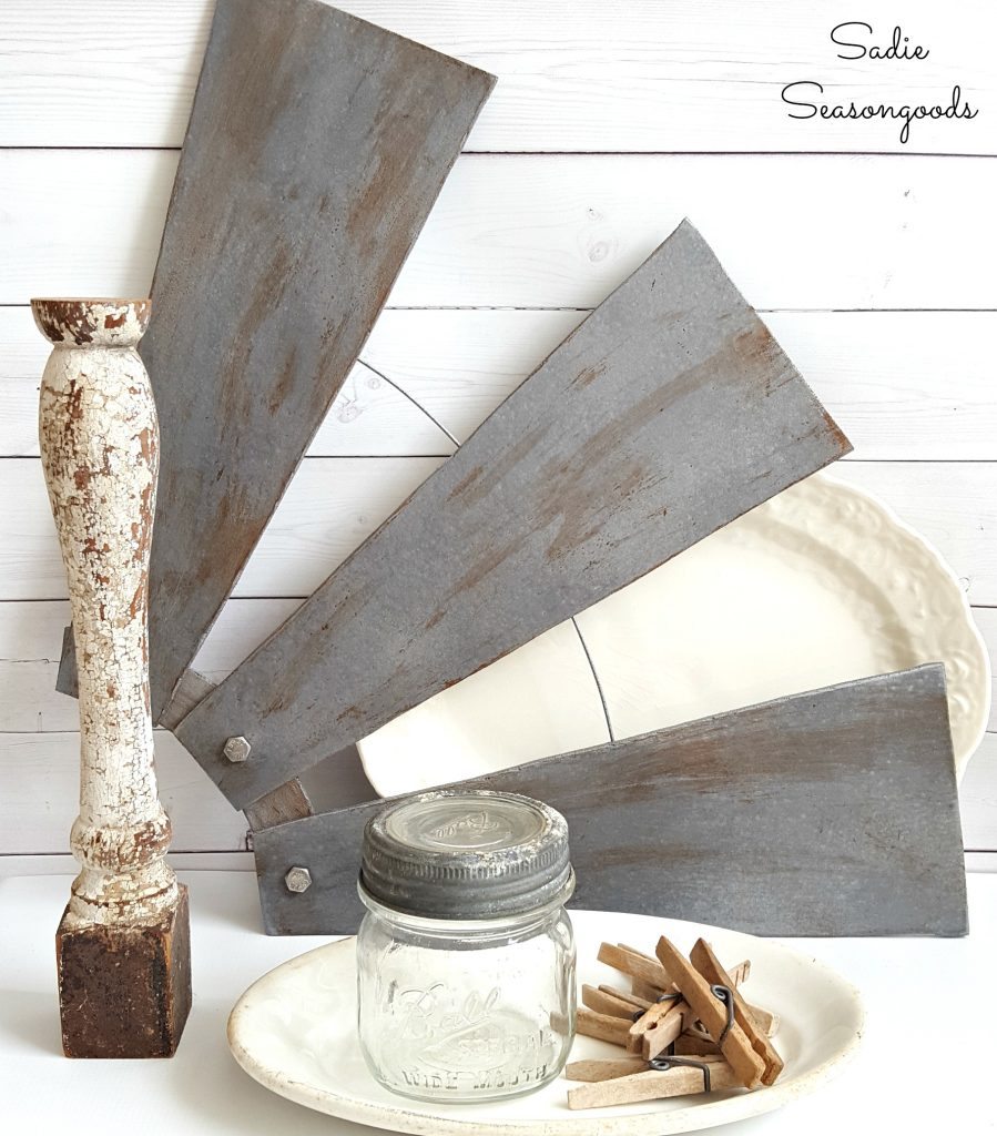 DIY Farmhouse Style Salvaged Windmill Decor from Ceiling Fan Blades which is a feature from Waste Not Wednesday-41 by Sadie Seasongoods | www.raggedy-bits.com