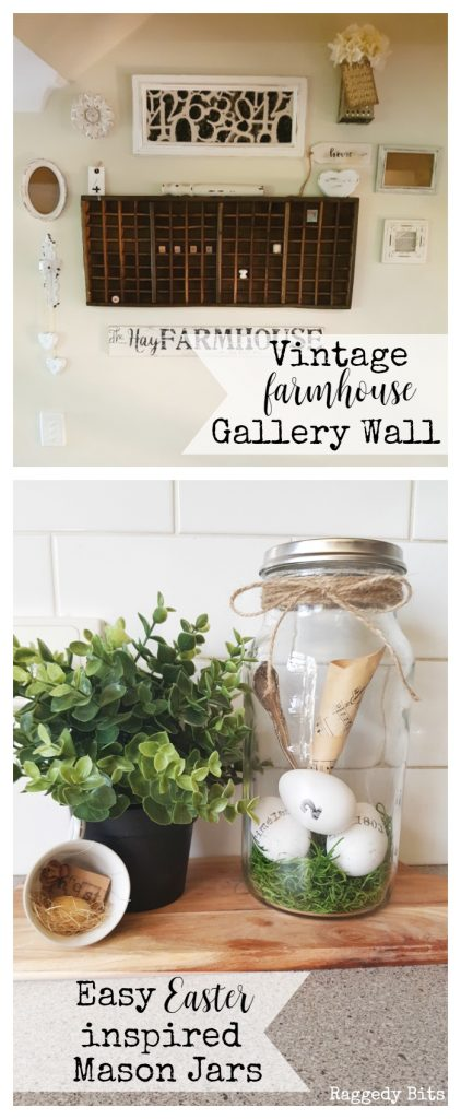 Waste Not Wednesday-41 Raggedy Bits Projects for the week | Vintage Farmhouse Gallery Wall | Easy Easter Inspired Mason Jars | www.raggedy-bits.com