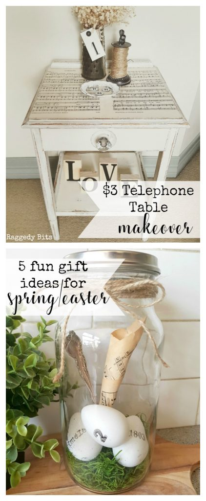 Waste Not Wednesday-42 Raggedy Bits Projects for the week   $3 Telephone Table Makeover   5 Fun Gift Ideas for Easter/Spring   www.raggedy-bits.com