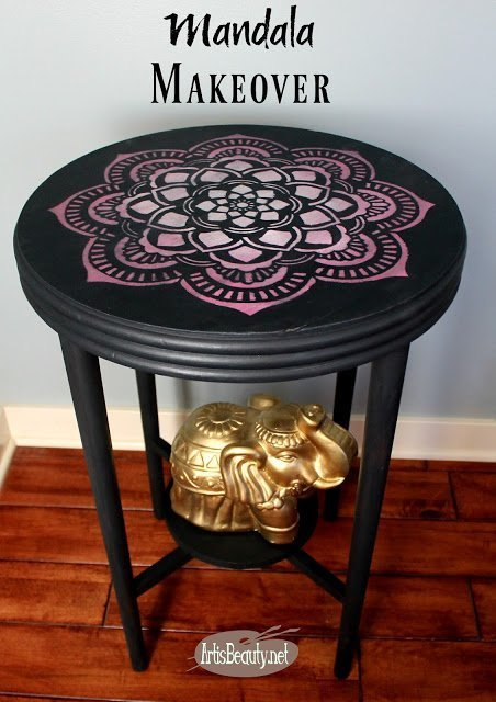 Mandala Painted Table Makeover which is a feature from Waste Not Wednesday-43 by The Art is Beauty   www.raggedy-bits.com