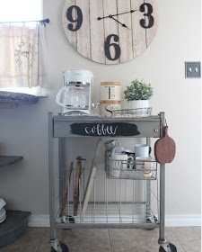 Coffee Bar Cart which is a feature from Waste Not Wednesday-40 by Farmhouse for Five| www.raggedy-bits.com