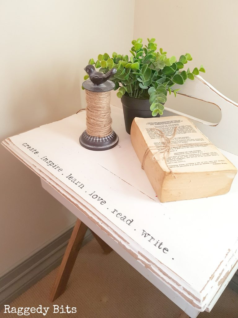 Sometimes when you find a piece of furniture, bring it home and clean it up it's not is the best shape. This was the case for this old writers desk. One project became two fun projects | Farmhouse Repurposed Broken Writers Desk Top | www.raggedy-bits.com