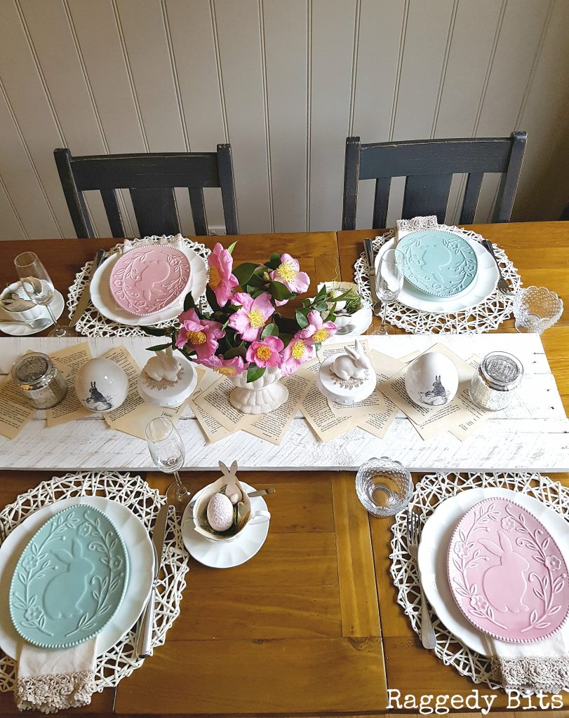 Simple vintage farmhouse spring or easter tablescape for Simple table setting