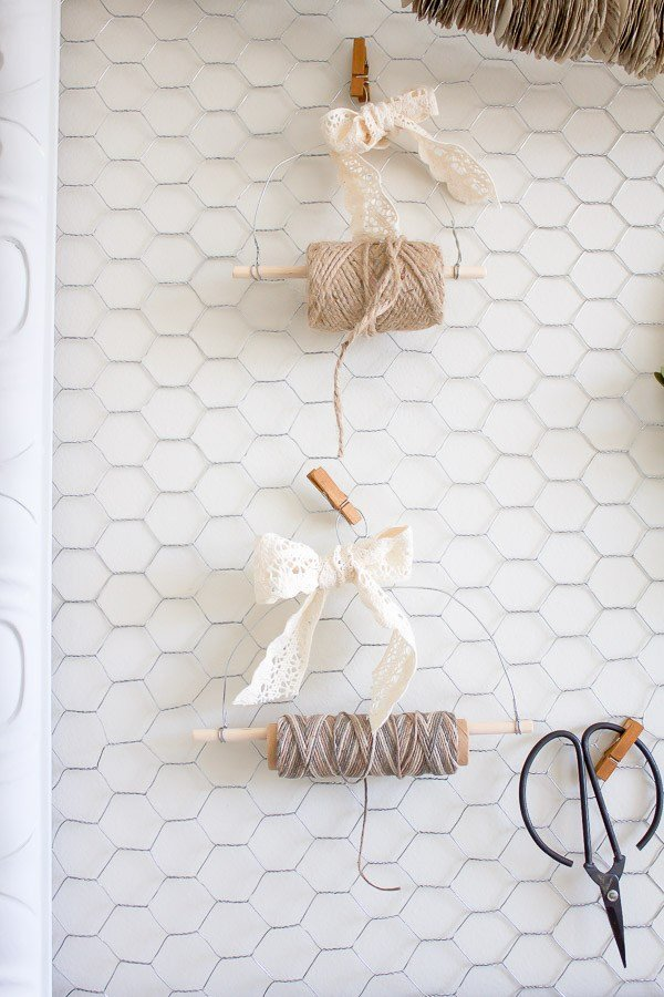 Rustic DIY Farmhouse Twine Dispenser which is a feature from Waste Not Wednesday-48 by Making it in the Mountains | www.raggedy-bits.com