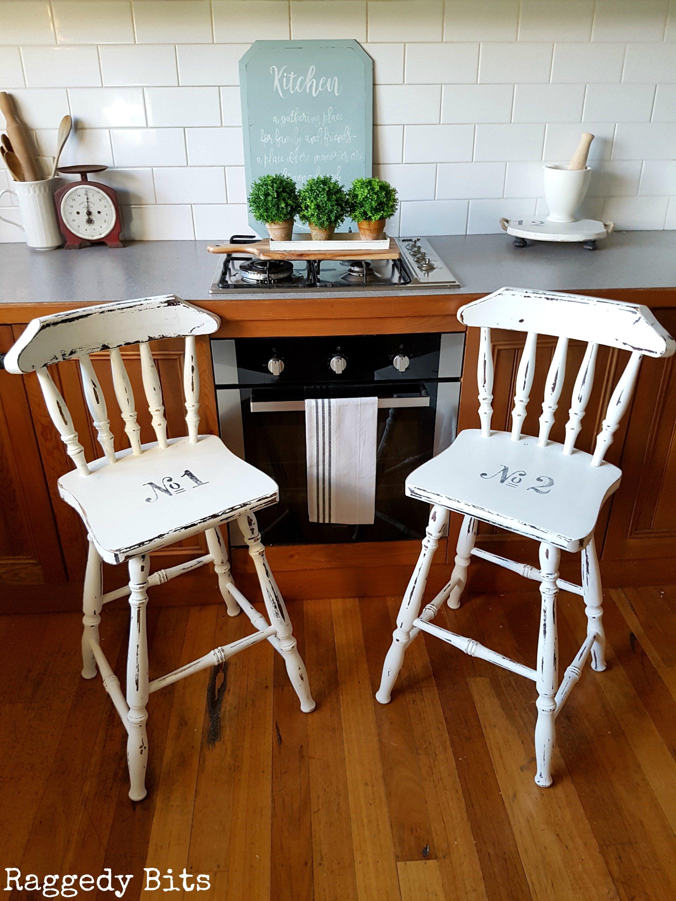 Breakfast Bar Vintage Farmhouse Stool Makeover Raggedy Bits
