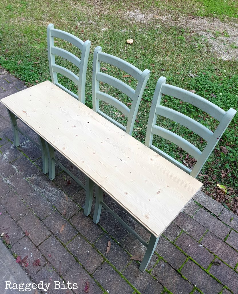 Have some old dining chairs your not quite sure what to do with? Sharing how to make a farmhouse Garden Bench from Old Chairs | Full tutorial | www.raggedy.bits.com