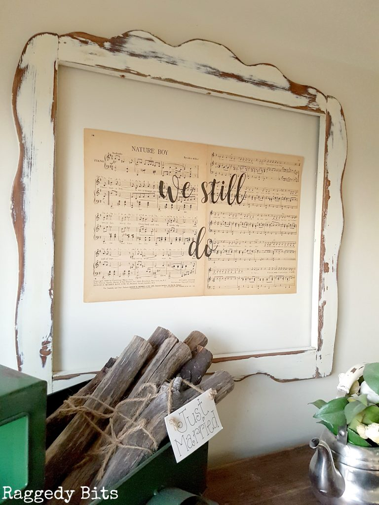 Make your very own Simple Vintage Farmhouse Music Sheet Wall Art to add some charm to your home | Full tutorial | www.raggedy-bits.com