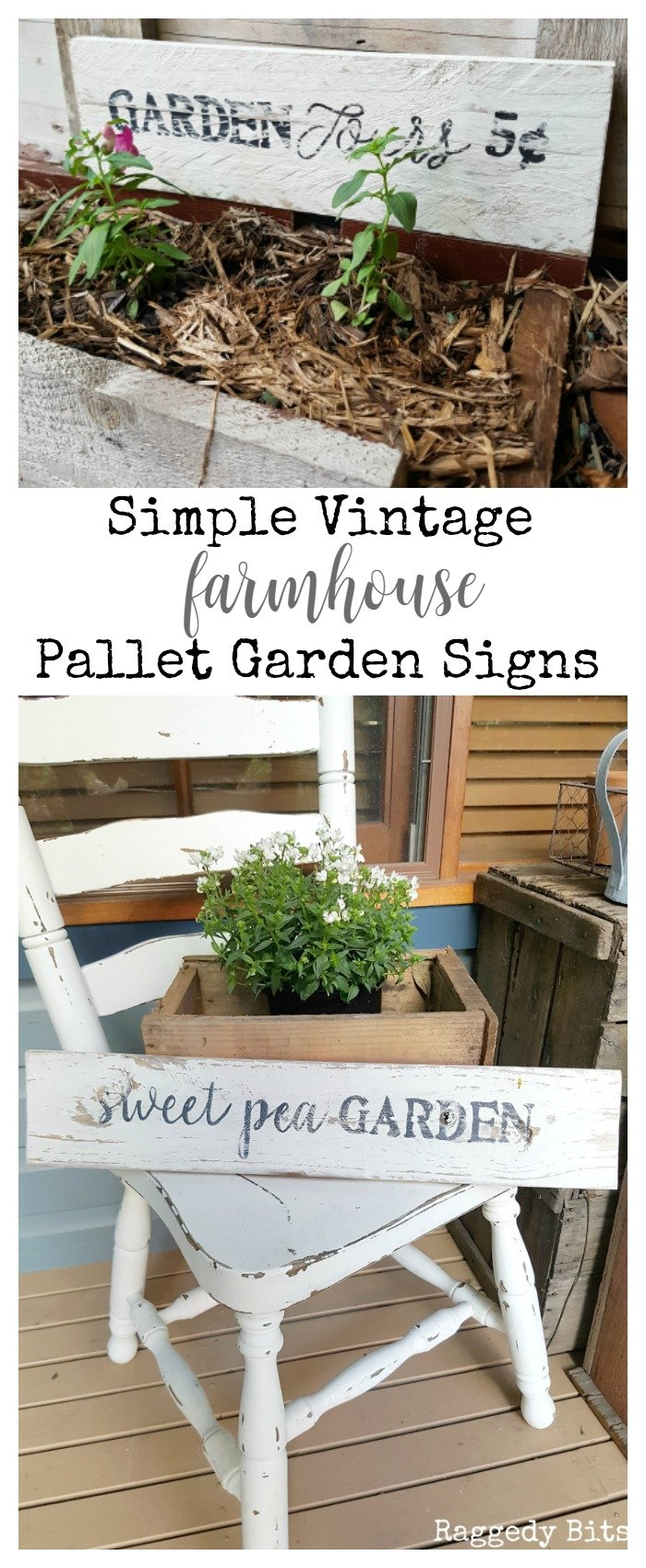 Sharing how to make some Simple Vintage Farmhouse Pallet Garden Signs to add to your garden | Full tutorial | www.raggedy-bits.com