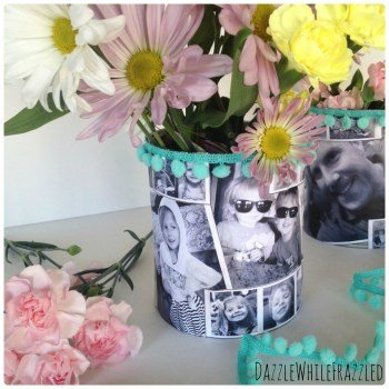 Make an Easy and Special Mother's DayTin Can Photo Vase which is a feature from Waste Not Wednesday-50 by Dazzle While Frazzled| www.raggedy-bits.com