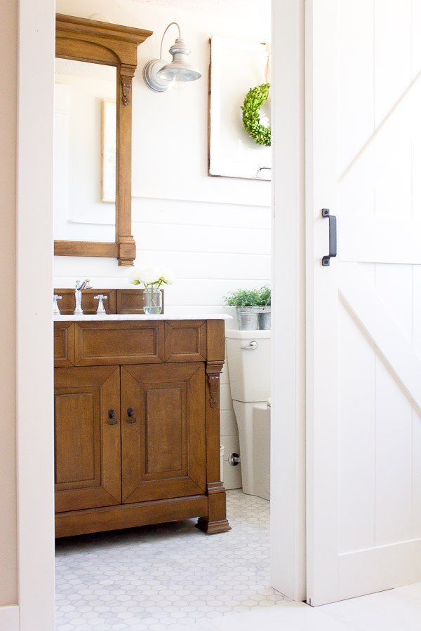 Farmhouse Powder Room Reveal which is a feature from Waste Not Wednesday-52 by Making it In the Mountains | www.raggedy-bits.com