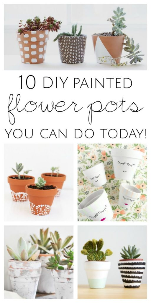 10 DIY Painted Flower Pot Ideas which is a feature from Waste Not Wednesday-52 by KreativK | www.raggedy-bits.com
