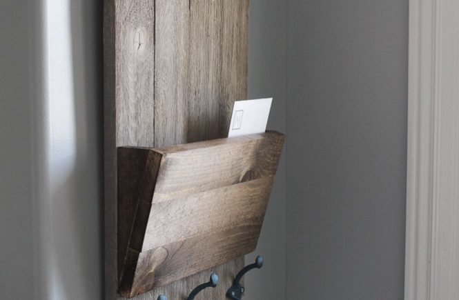 Farmhouse Style Shiplap Wall Key Holder which is a feature from Waste Not Wednesday-52 by Sawdust Sisters | www.raggedy-bits.com