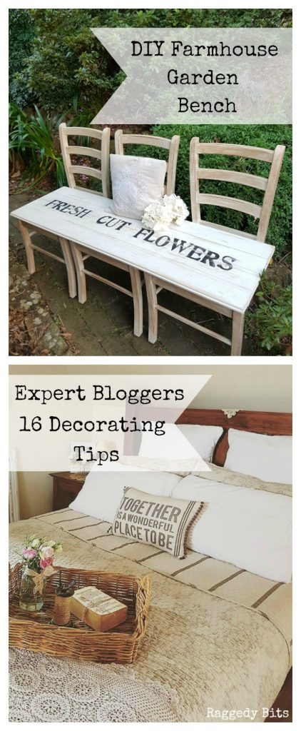 Waste Not Wednesday-53 Raggedy Bits Projects for the week | How to make a Farmhouse Bench From Old Chairs | Expert Bloggers 16 Decorating Tips | www.raggedy-bits.com