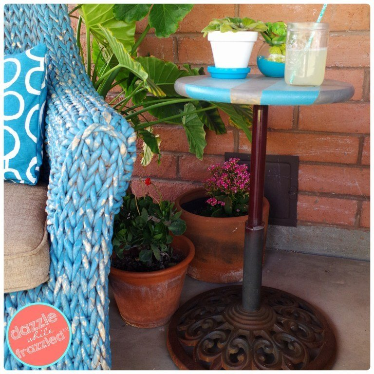 DIY Umbrella Stand into and Easy Patio Table which is a feature from Waste Not Wednesday-53 by Dazzel While Frazzled | www.raggedy-bits.com