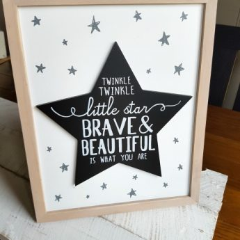 A cute Twinkle Twinkle Little Star Brave and Beautiful is what you are Sign would make a perfect addition to a little one's room or make a fabulous gift | www.raggedy-bits.com