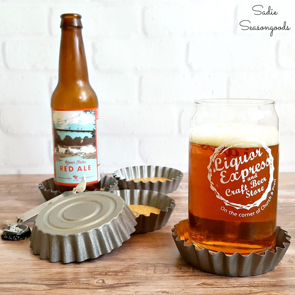 DIY Oversized Bottle Cap Coasters which is a feature from Waste Not Wednesday-54 by Sadie Seasongoods | www.raggedy-bits.com