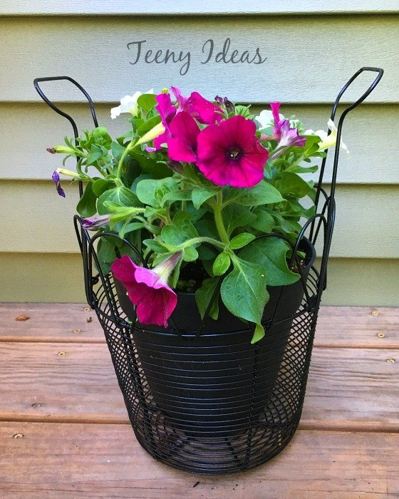 Repurposed Egg Basket Planter which is a feature from Waste Not Wednesday-56 by Teeny Ideas| www.raggedy-bits.com