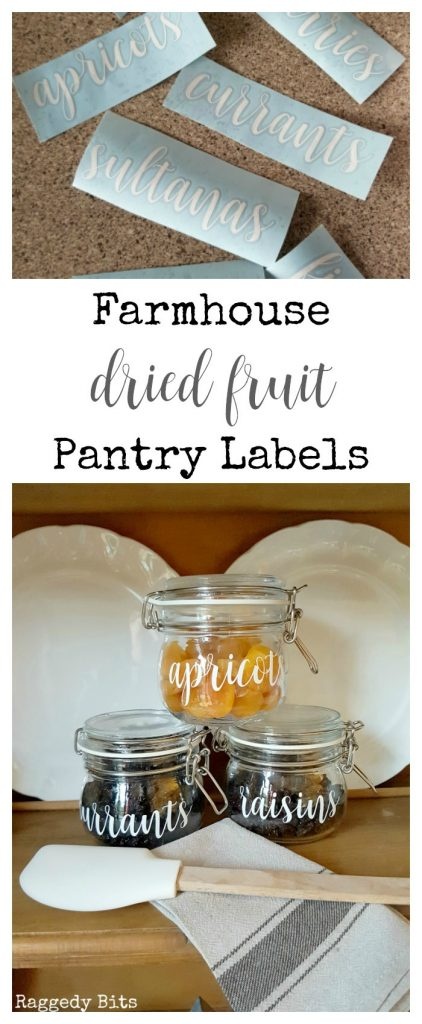 Waste Not Wednesday-61 Raggedy Bits Projects for the week | Farmhouse Dried Fruit Pantry labels | www.raggedy-bits.com