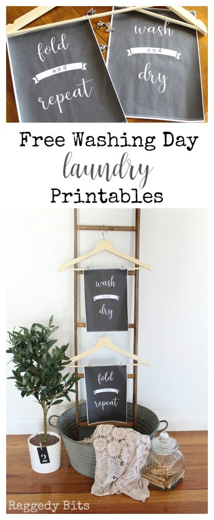Need some wall art to make your laundry at least a little fun? Sharing some Farmhouse Style Free Washing Day Laundry Printables which will be sure to do the trick | www.raggedy-bits.com | #raggedybits #printable #farmhouse #laundry #homedecor #craft #DIY #washday