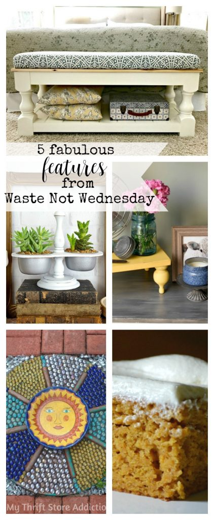 Features from our fun Waste Not Wednesday-64 DIY, Craft, Home Decor and Recipe party this week! Be sure to join us and share your DIY, Craft, Home Decor and favourite recipes! | www.raggedy-bits.com | www.mythriftyhouse.com | www.salvagesisterandmister.com | www.reinventedkb.com