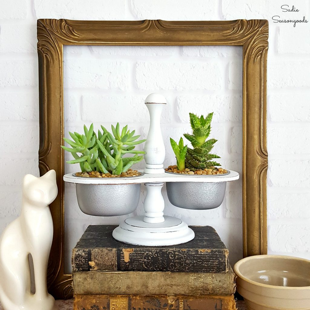 DIY Succulent Planter from a Repurposed Vintage Condiment Caddy which is a feature from Waste Not Wednesday-64 by Sadie Seasongoods | www.raggedy-bits.com