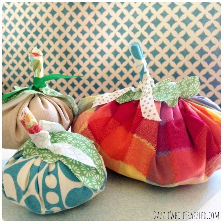 Use Scrap Fabrics to make fun Easy Scrape Pumpkins which is a feature from Waste Not Wednesday-66 by Dazzle While Frazzled | www.raggedy-bits.com