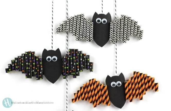 Halloween Paper Straw Bats which is a feature from Waste Not Wednesday-69 by My Husband Has Too Many Hobbies| www.raggedy-bits.com
