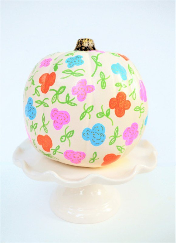 Painted Pumpkin Idea which is a feature from Waste Not Wednesday-70 by All Crafty Things | www.raggedy-bits.com