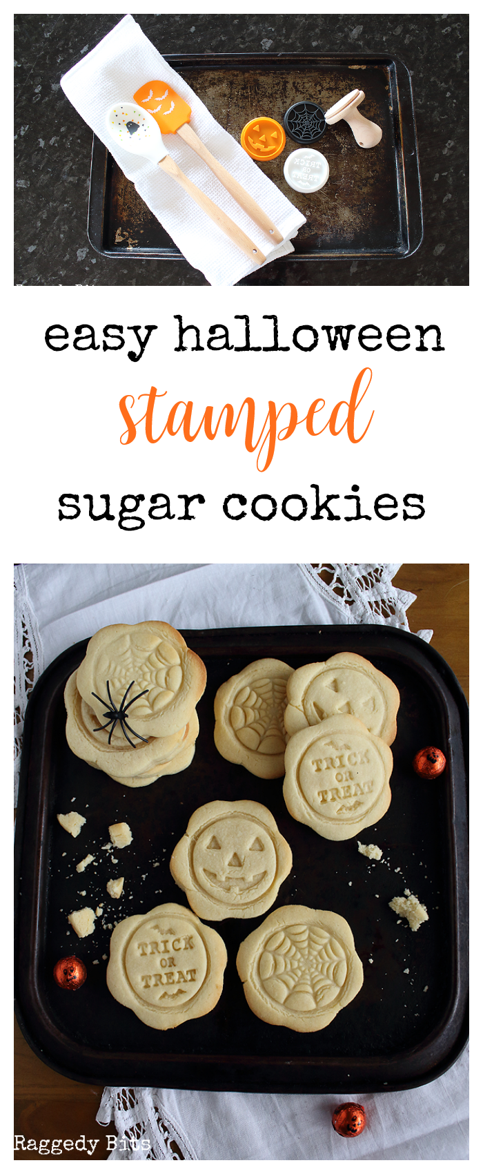 DAY 4 - Easy Halloween Stamped Sugar Cookies | Make 5 fun projects between now and Halloween | www.raggedy-bits.com #halloween #easyrecipe #halloweendecorations#decoratingideas #easy #cookies #halloweencookies