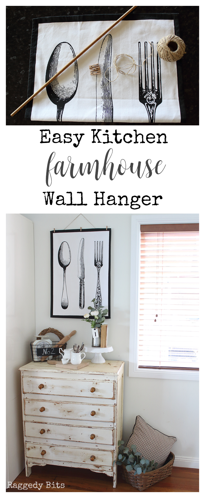 A fun Easy Kitchen Farmhouse Wall Hanger to make to had some farmhouse charm to your kitchen | www.raggedy-bits.com