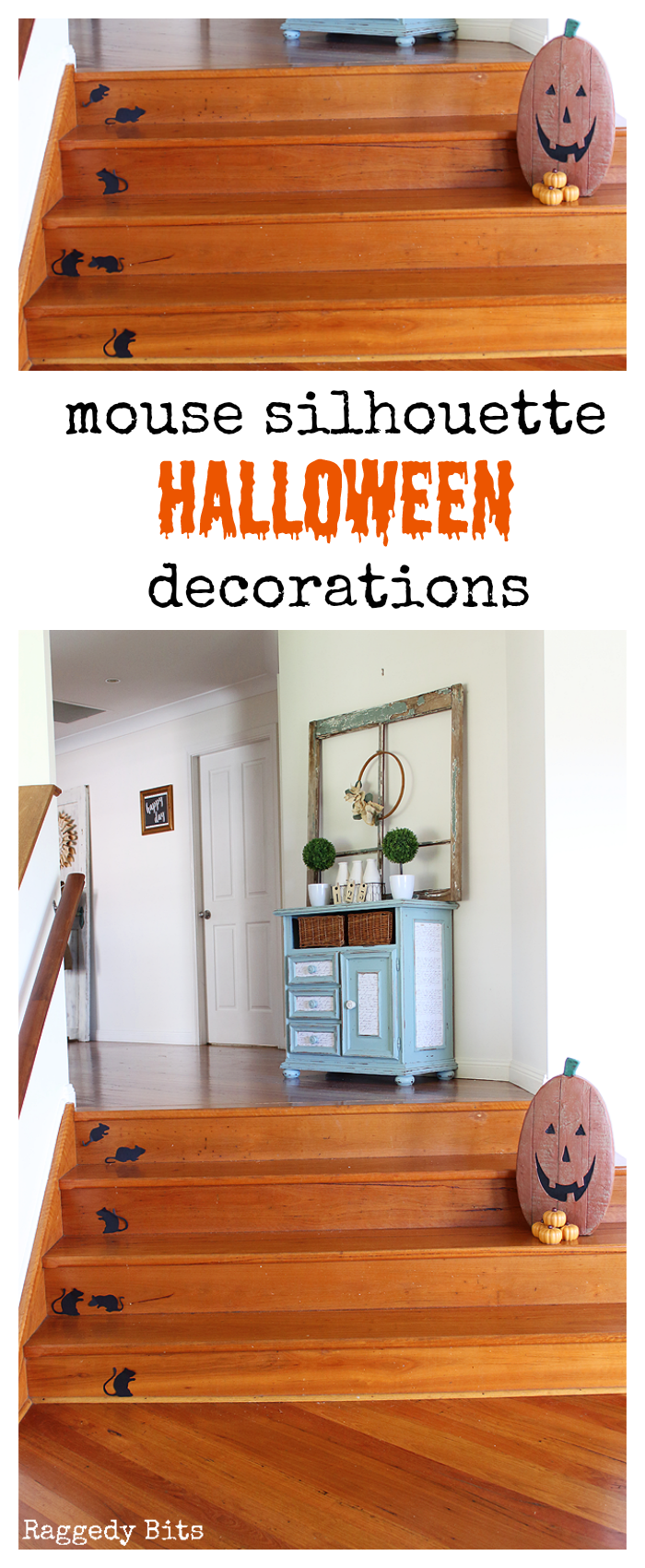 DAY 3 Halloween Mouse Silhouette Decorations | Make 5 fun projects between now and Halloween | www.raggedy-bits.com #halloween #halloweendecorations#decoratingideas #easy #mouse #silhouette