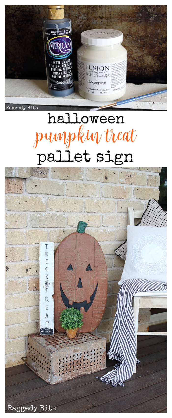 DAY 5 - Halloween Pumpkin Treat Pallet Sign | Make 5 fun projects between now and Halloween | www.raggedy-bits.com #halloween #easyproject #halloweendecorations#decoratingideas #easy #pallet #halloweentrickortreat