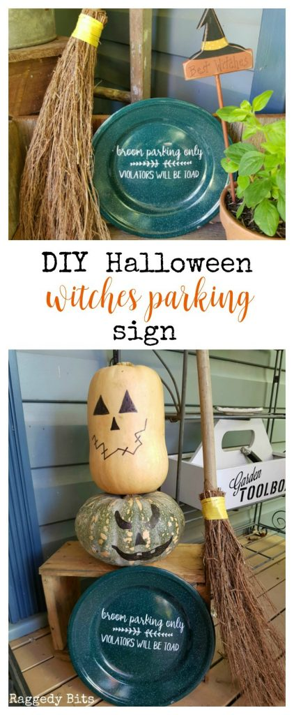 Waste Not Wednesday-71 Raggedy Bits Projects for the week | DIY Halloween Witches Parking Sign | www.raggedy-bits.com