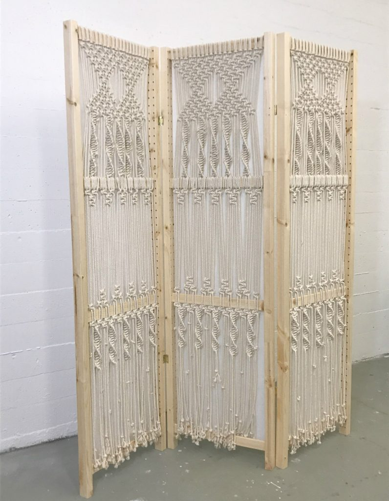 Easy Macrame Folding Screen which is a feature from Waste Not Wednesday-73 by My French Twist | www.raggedy-bits.com