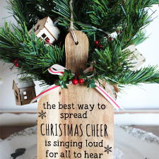 Day 2 of the 12 Days of Christmas Blog Hop and it's all about your favourite Christmas Movie. Sharing a Farmhouse Christmas Wooden Paddle inspired by the movie Elf   www.raggedy-bits.com   #farmhouse #christmas #DIY #12DaysOfChristmas #wooden #paddle