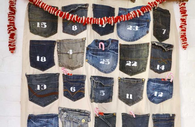 Simple to make Jeans Handmade Advent Calendar which is a feature from Waste Not Wednesday-75 by Pillar Box Blue | www.raggedy-bits.com