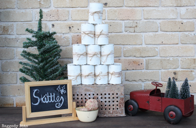 Day 6 of our 12 Days of Christmas Blog Hop. Today it's all about Party Games. Sharing a fun Christmas Party Vintage Tin Skitttles Game | www.raggedy-bits.com #12DaysofChristmasBlogHop #raggedybits #partygames #christmas #tincan #skittles #vintage #farmhouse