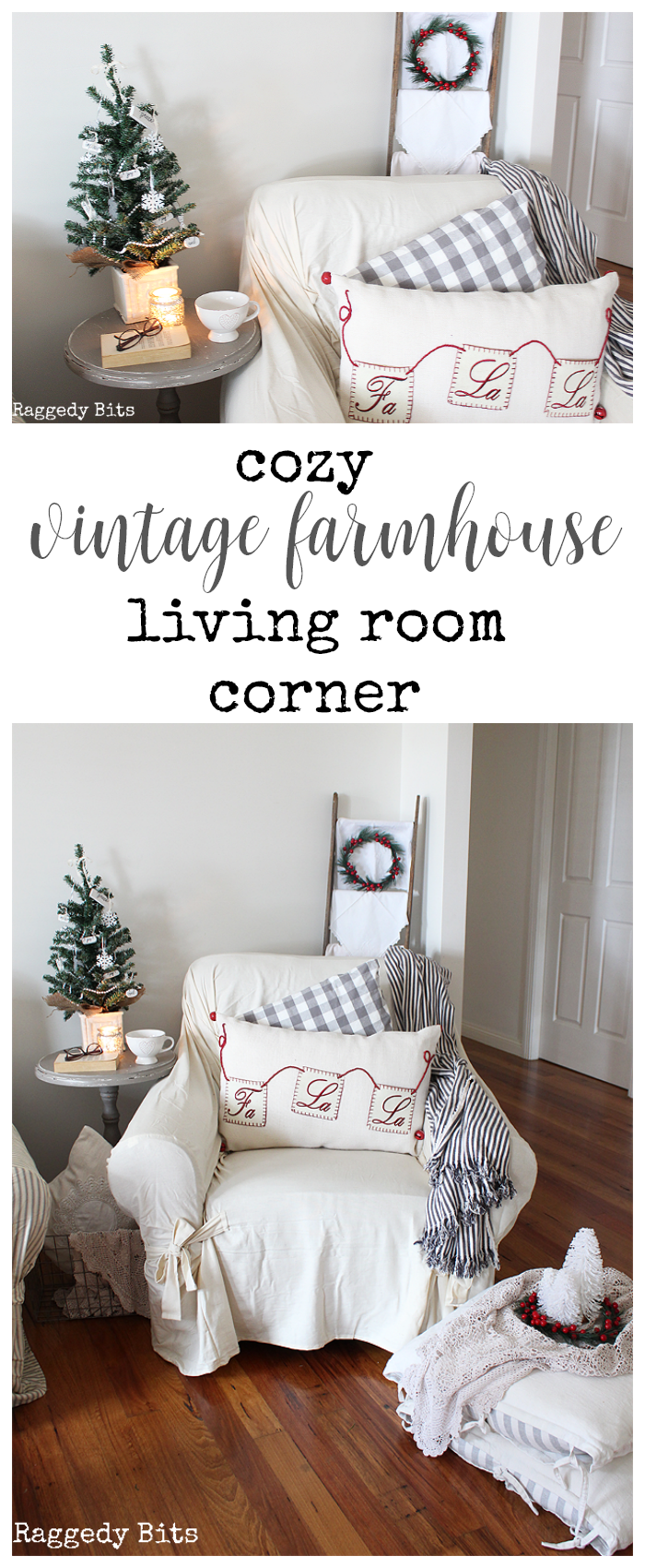 Join me and my sweet blogging pals as we share some cozy Christmas Spots around our homes | Cosy Vintage Farmhouse Living Room Corner | www.raggedy-bits.com #cozy #decorating #ideas #raggedybits #livingroom #christmas #farmhouse #vintage