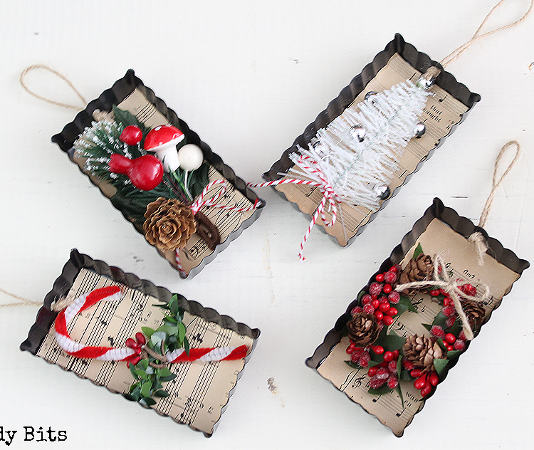 Sharing some easy fun Farmhouse Christmas Tart Tin Ornaments to make for yourself or give them as gifts | Full tutorial | www.raggedy-bits.com #farmhouse #christmas #tart #tins #ornaments #vintage