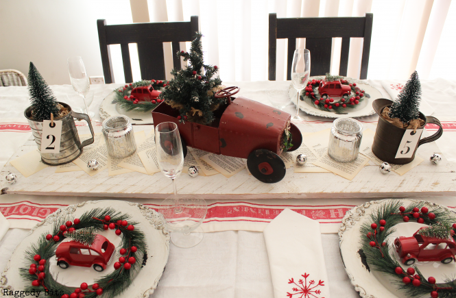 Day 10 of our 12 Days of Christmas Blog Hop is all about Christmas Tablescapes. Sharing our Farmhouse Vintage Truck Tablescape | www.raggedy-bits.com #raggedybits #farmhouse #vintage #christmas #12DaysOfChristmasBlogHop #tablescape