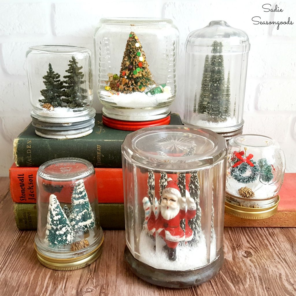 DIY Waterless Snowglobes with Vintage Mason Jars for Christmas Decor which is a feature from Waste Not Wednesday-83 by Sadie Seasongoods www.raggedy-bits.com