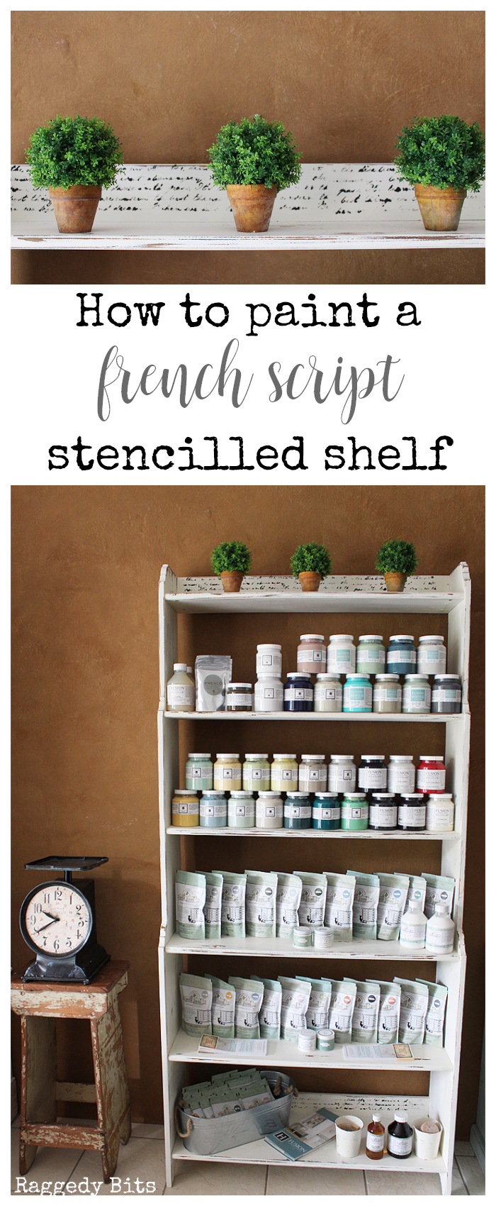 Sharing how to paint a French Script Stencilled Shelf from a roadside find and a few coats of Miss Mustard Seed Milk Paint - Farmhouse White | www.raggedy-bits.com | #missmustardseed #paintedfurniture #DIY #raggedybits #distress #chippy