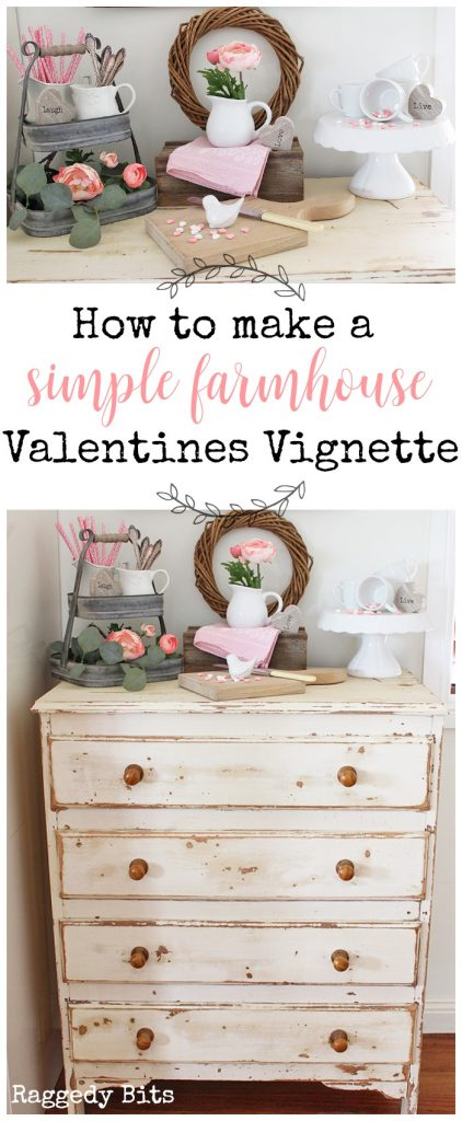 Waste Not Wednesday-89 Raggedy Bits Projects for the week | How to How to make a Simple Farmhouse Valentines Vignette | www.raggedy-bits.com #WasteNotWednesday #DIY #recipe #craft #homedecor