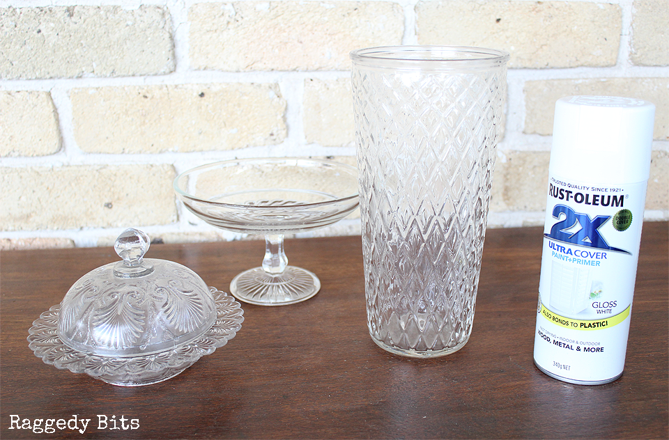 Having troubles finding Milk Glass like me? Sharing how to make Faux Milk Glass with Thrifted Finds | www.raggedy-bits.com | #milkglass #DIY #raggedybits #thrifted #farmhouse