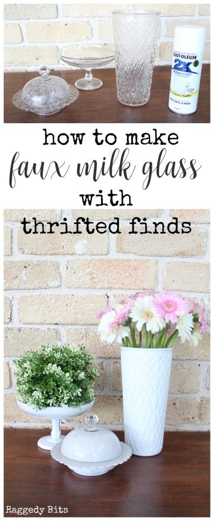 Waste Not Wednesday-94 Raggedy Bits Projects for the week | How to make Faux Milk GLass with Thrifted Finds | www.raggedy-bits.com #WasteNotWednesday #DIY #recipe #craft #homedecor