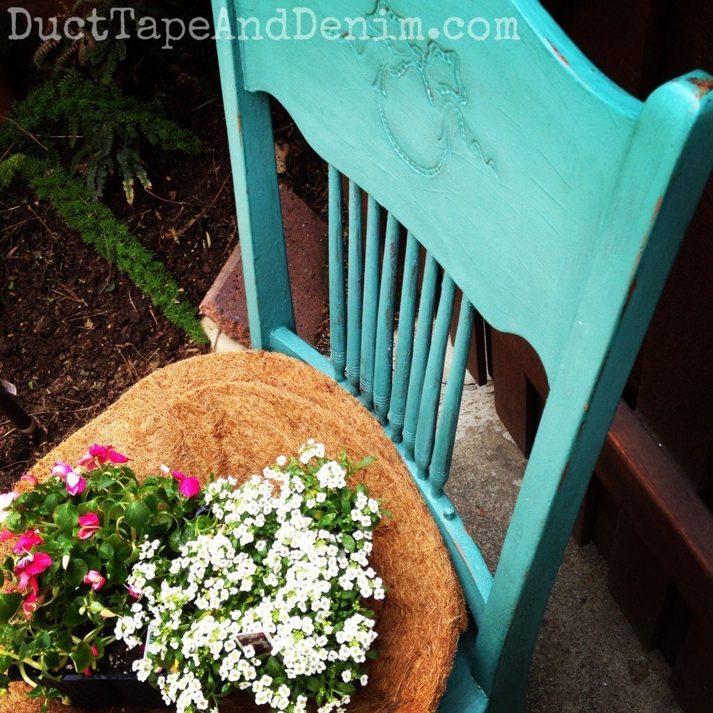 Repurposed Vintage Chair Planter is a feature from Waste Not Wednesday-93 by Ducted Tape and Denim | www.raggedy-bits.com