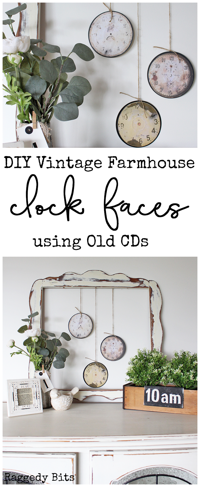 See how easy it is to turn some old scratched CDs into some DIY Vintage Farmhouse Clock Faces   www.raggedy-bits.com   #clockfaces #DIY #farmhouse #raggedybits #vintage